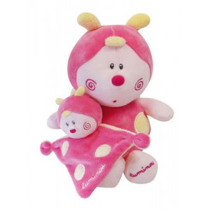 Luminou - Peluche et mini-doudou rose